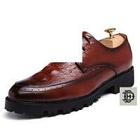 新款男鞋休闲鞋英伦百搭小皮鞋加绒保暖鞋时尚鳄鱼纹男士商务皮鞋正装休闲系带皮鞋男婚鞋