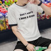 男士圆领短袖T恤韩版新款男装夏季休闲打底衫学生印花体恤衫
