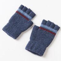 保暖 防寒保暖手套男半指 学生纯色针织毛线露指手套男冬
