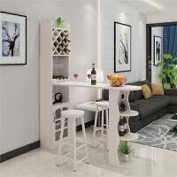 客厅家用吧台桌简约现代隔断柜欧式酒柜玄关柜简易靠墙实木小吧台 组装 框架结构