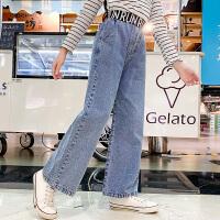 女童牛仔裤春秋洋气女大童阔腿长裤春款外穿儿童裤子