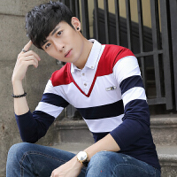 秋季假两件长袖T恤男士V领拼接衬衫领韩版修身型拼色条纹男装青年