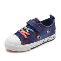 女童帆布鞋春秋儿童水洗牛仔布鞋休闲板鞋中大童单鞋