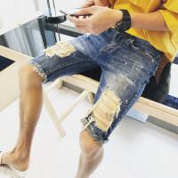 夏季新款欧美高街个性时尚潮流弹力修身大破洞乞丐裤牛仔短裤男潮