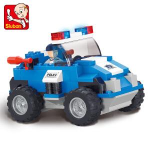 【当当自营】小鲁班城市特警系列儿童益智拼装积木玩具 特警突击车M38-B0183