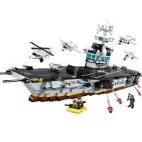 �事拼�b航母模型男童�e木男孩子拼插警察�模型�和�玩具