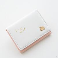 钱包女短款韩版小清新学生迷你小零钱包新款可爱撞色皮夹钱夹