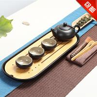 思故轩 创意家用旅行便携功夫茶具陶瓷茶台干泡盘台竹茶盘茶具套装CJT1689