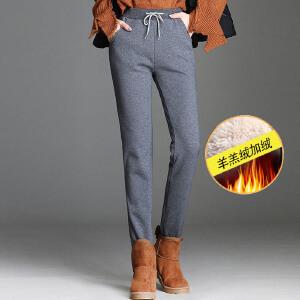 加厚加绒休闲运动裤女冬韩版女装小脚休闲裤学生羊羔绒运动裤女潮