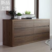 定制北欧木质家具储物柜子现代简约六斗柜抽屉收纳柜卧室胡桃木纹定制定制 整装