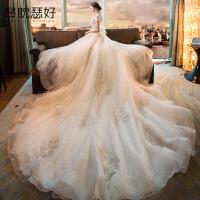 长拖尾婚纱显瘦新娘结婚礼服梦幻奢华公主一字肩大码