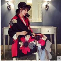 围巾披肩两用女加大长款印大花朵围脖韩版百搭加厚仿羊绒围巾