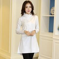 白衬衫女长袖秋冬加绒保暖百搭宽松立领棉中长款打底衬衣
