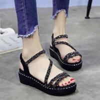 夏季凉鞋女套脚学生厚底松糕鞋高跟鞋罗马女鞋潮