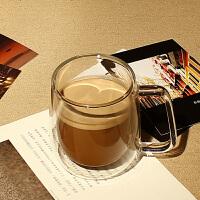 双层耐热透明玻璃杯隔热带把手带盖咖啡杯马克杯茶杯家用办公桌水杯 如图 均码