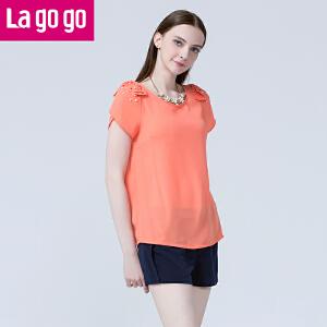 lagogo拉谷谷夏季新款蝴蝶结钉珠纯色时尚上衣