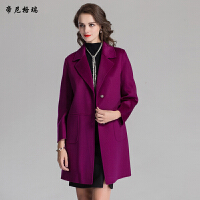 冬季女士新款翻领九分袖双面羊毛呢大衣中长款简约大方外套M-616306