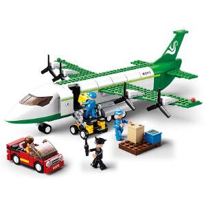 【当当自营】小鲁班新航空天地系列儿童益智拼装积木玩具 货运飞机M38-B0371