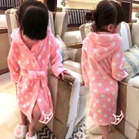 *儿童装女童法兰绒浴袍睡袍睡衣家居服2018春冬装新款