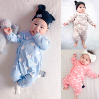 婴儿连体衣服0岁3个月3宝宝2新生儿冬装冬季潮款童内衣睡衣