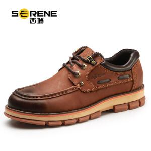 西瑞男士休闲真皮鞋秋季系带圆头内增高鞋子男鞋英伦工装鞋7128