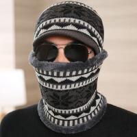 帽子男保暖毛线针织围脖两件套防风青年骑车套帽东北旅游装备