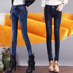 秋冬新款女士单排扣牛仔加绒裤女显瘦保暖牛仔长裤铅笔裤