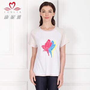 康妮雅夏季新款短袖T恤 女士上衣棉质拼接打底衫