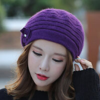 帽子女百搭街头兔毛毛线针织混纺礼帽保暖韩版休闲贝雷帽
