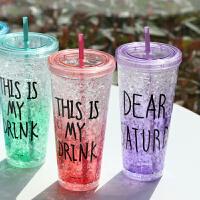 夏日碎冰杯 双层星巴克杯子创意带盖塑料学生情侣水杯 吸管杯成人