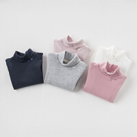 davebella戴维贝拉女童秋季新款T恤 宝宝高领长袖打底衫多色可选DB3643