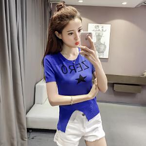 【班图诗妮】2018新款短袖冰丝针织衫韩版打底衫T恤套头毛衣女装百搭上衣