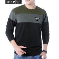 Jeep吉普卫衣男时尚拼色套头体恤衫2018春秋冬新品长袖圆领印花打底衫