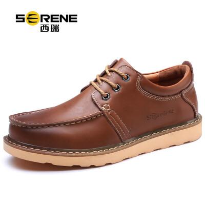 西瑞工装鞋男鞋子低帮大头鞋男士休闲皮鞋复古马丁鞋6313复古工装鞋-加毛可选