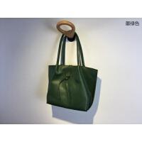 订制款个性原创子母包日式简约大容量单肩包女包大包头层牛皮 墨绿色