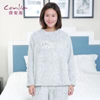 康妮雅家居服 女士秋冬珊瑚绒可爱卡通印花中厚长袖睡衣套装