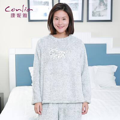 康妮雅家居服  女士秋冬珊瑚绒可爱卡通印花中厚长袖睡衣套装先领卷后购物 满399减50
