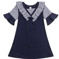 女童夏装洋气童装女大童连衣裙喇叭短袖儿童夏季裙子