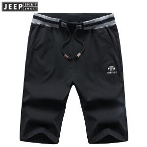 吉普JEEP运动短裤男夏装薄款休闲五分裤男装全棉针织卫裤直筒中腰居家健身跑步短裤