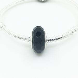 PANDORA潘多拉手链黑色切割面穆拉诺银琉璃珠791069