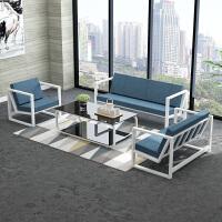 办公沙发简约现代铁艺三人沙发商务会客接待办公室沙发茶几桌组合