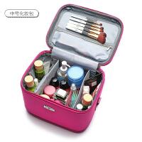 化妆包大容量韩国化妆箱便携多功能手提大号收纳包可爱手包式 玫红色 样品展示中号