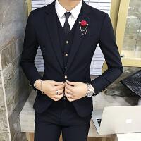 秋季纯色休闲英伦风西服男士韩版修身西装发型师夜店个性潮流上衣
