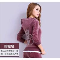 女大码韩版天鹅绒套装休闲套装女春秋卫衣天鹅绒运动套装