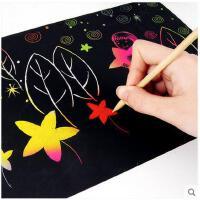 炫彩刮画纸A4 加厚刮画纸20张 儿童刮画纸 无味 送模板4个 DIY学生刮画纸