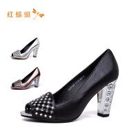 【专柜正品】红蜻蜓新款水钻纯色简约时尚百搭高跟鞋露趾单鞋