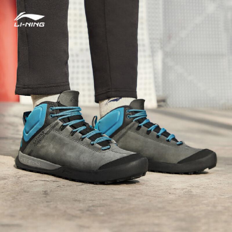 李宁徒步鞋男鞋新款加绒保暖耐磨防滑秋冬季中帮户外运动鞋 专柜新款 耐磨防滑
