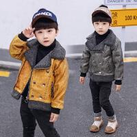 男孩帅气皮衣棉袄宝宝冬装潮男童棉衣时尚韩版皮夹克外套