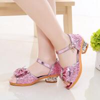 儿童凉鞋女童鞋夏季女童公主鞋中大童水晶鞋高跟