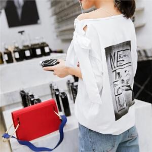 七格格 T恤女装夏装2018新款飘带短袖女bf学生白色宽松港味韩范漏肩上衣